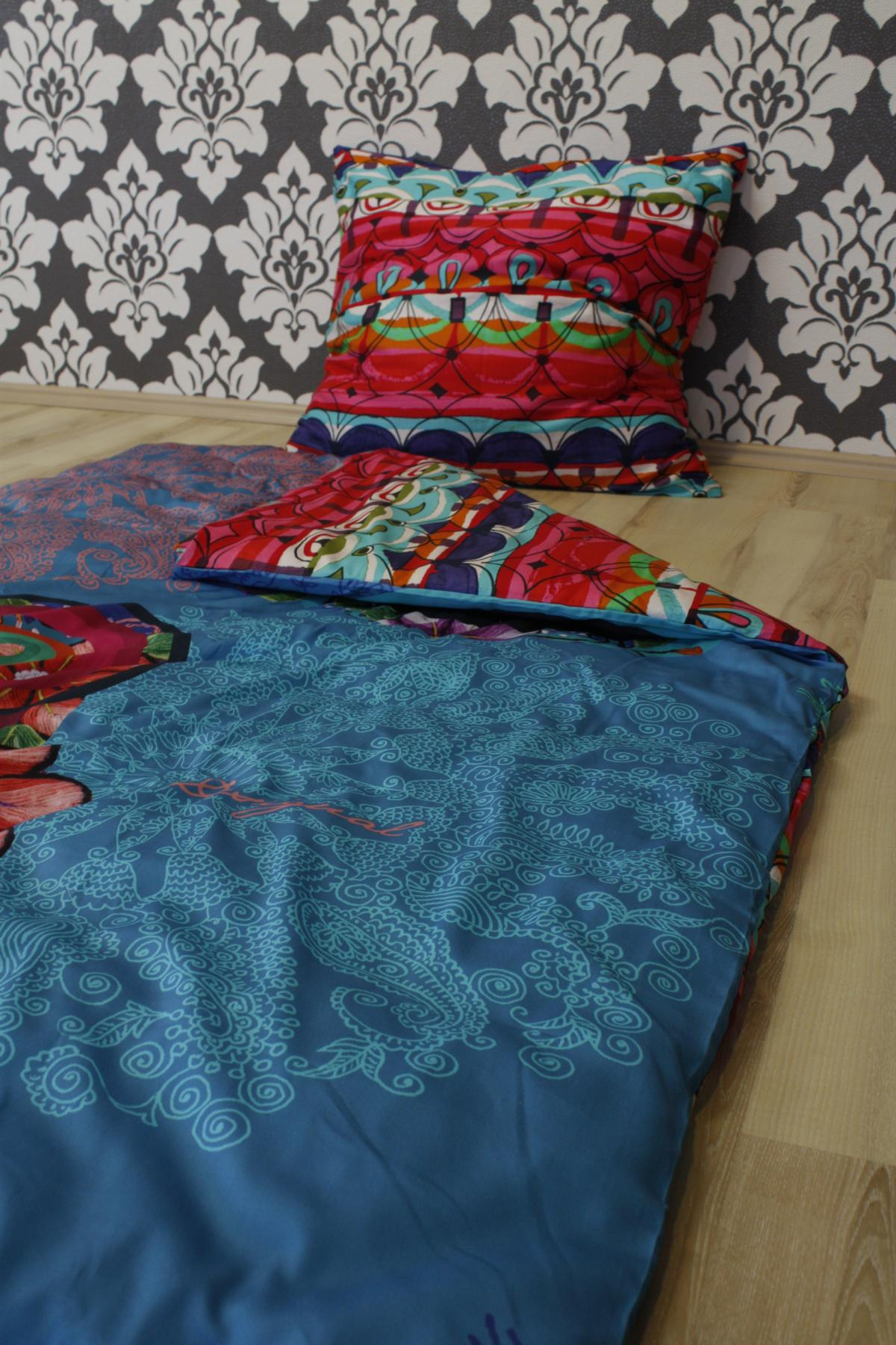 desigual bettw sche hand flower 2 teilig 155x220cm 80x80cm kissen ebay. Black Bedroom Furniture Sets. Home Design Ideas