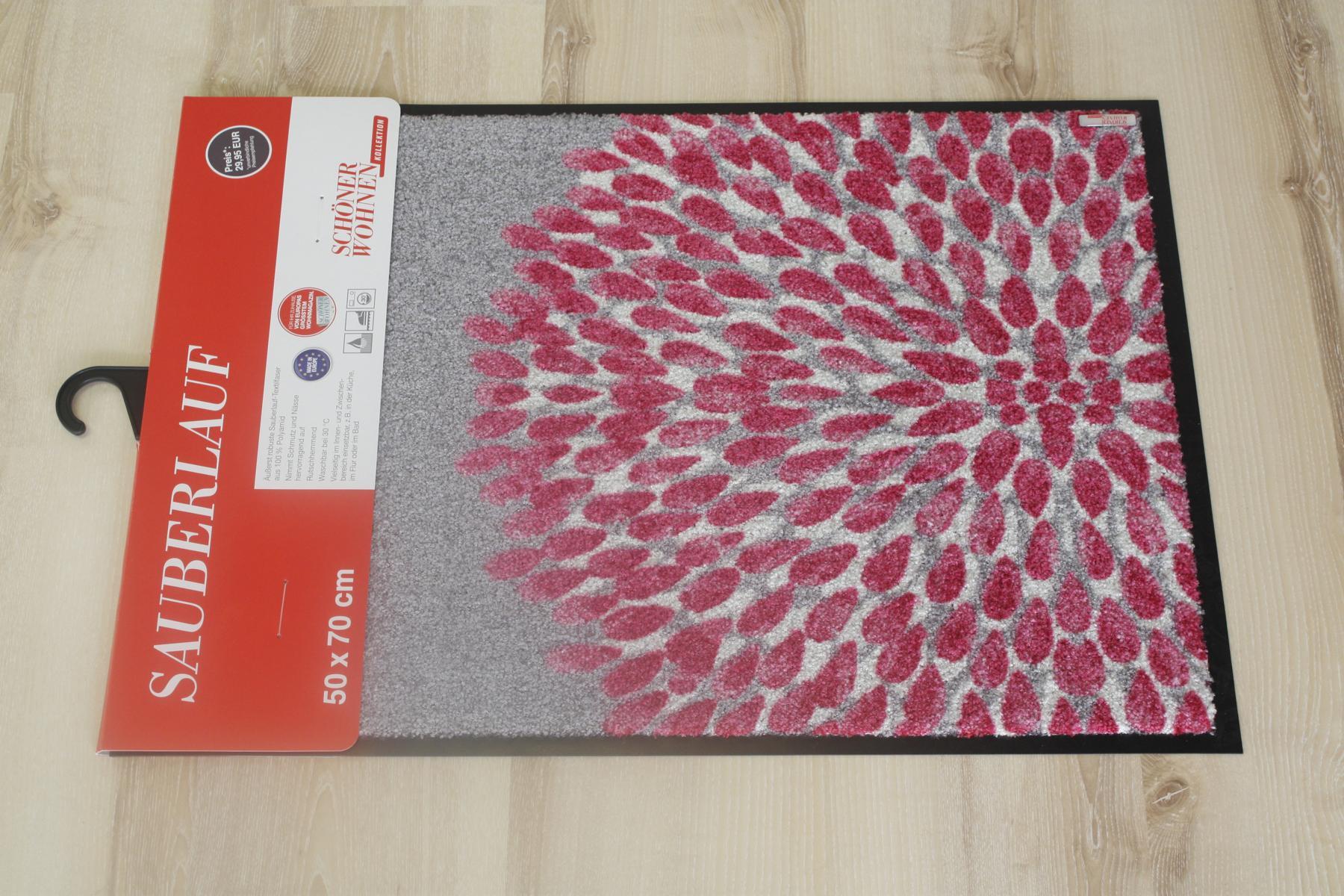 paillasson sch ner wohnen 111 fleur rose 70x110 cm