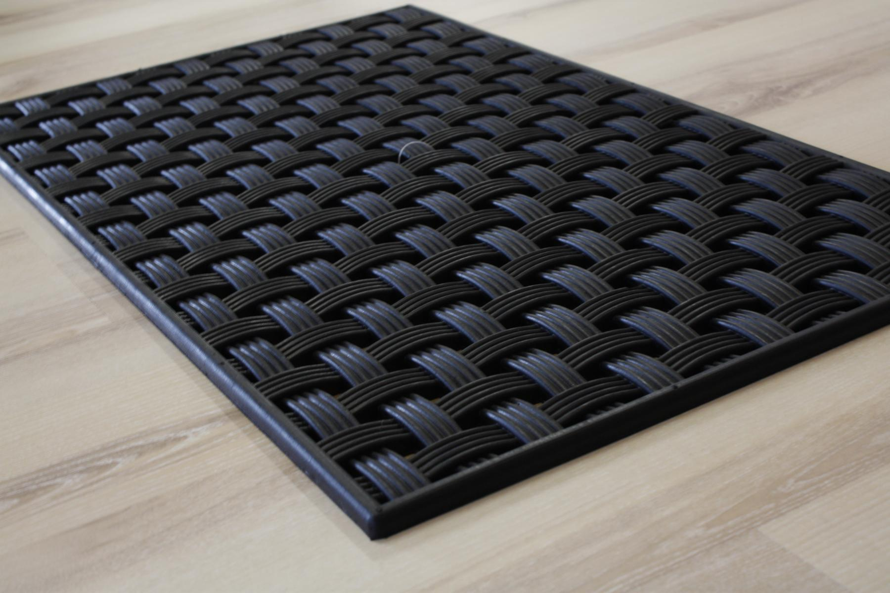 Fußmatte Türmatte Gummi geflochten gewebt schwarz 45×75 cm