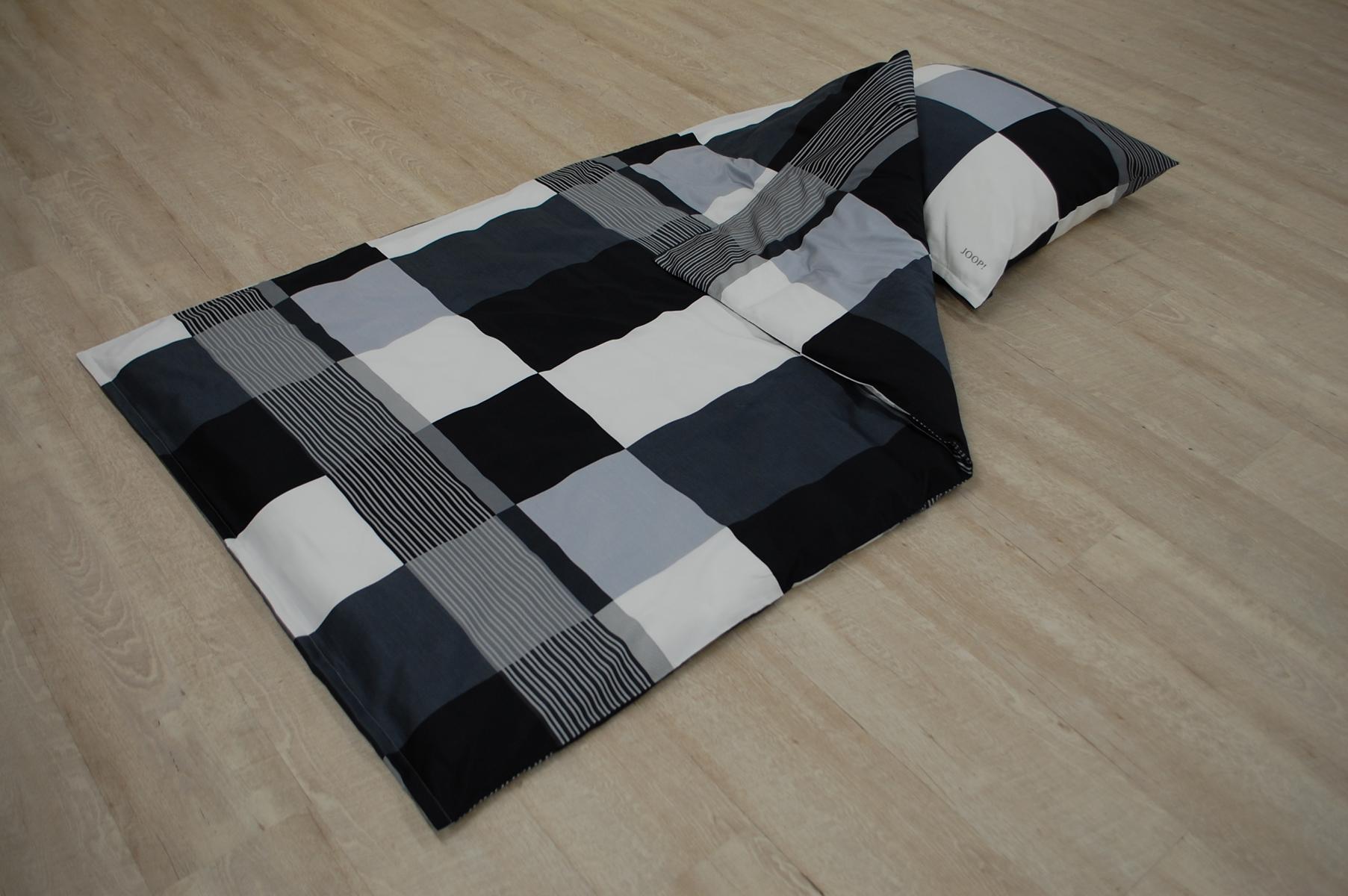 Joop Bettwäsche Plaza Squares 00 Schwarz Weiß 2 Teilig 155x220cm