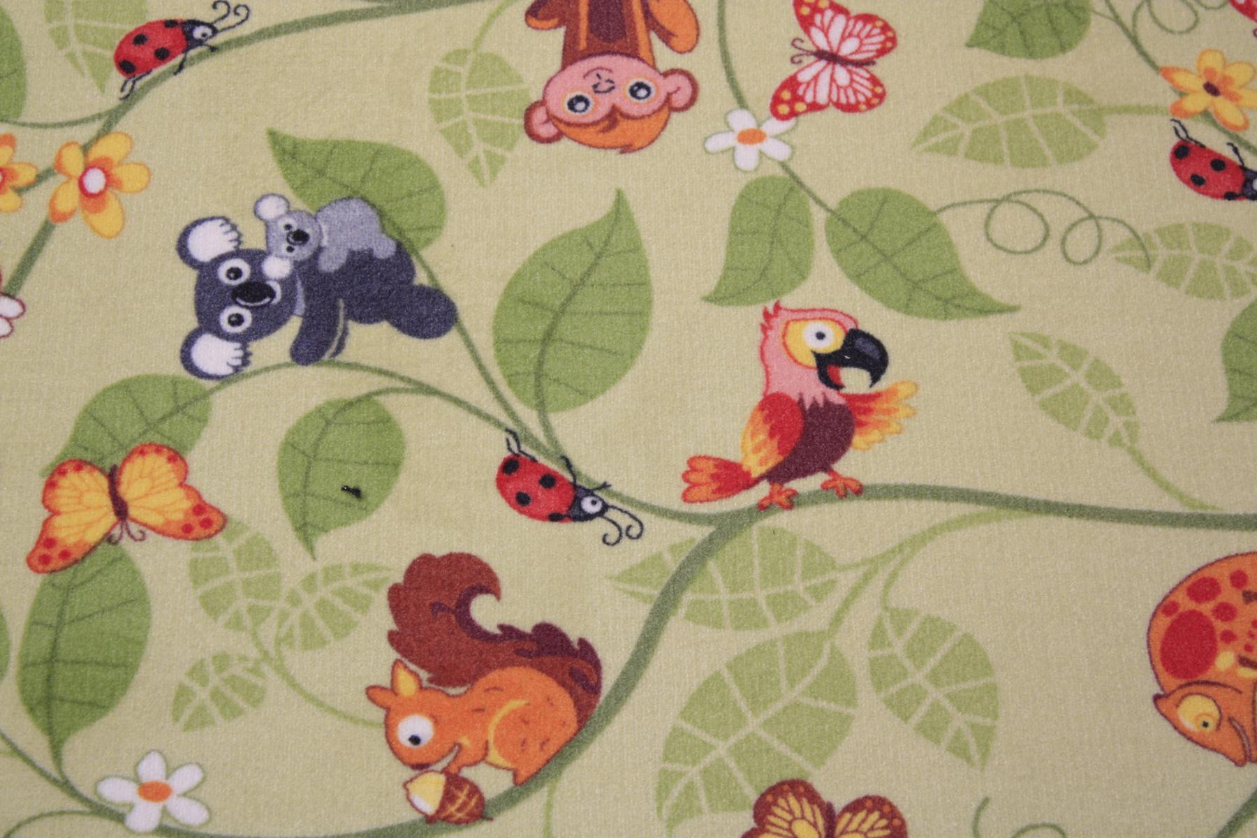 Kinder Teppich Spielteppich Jungle Velours grün 200×170 cm