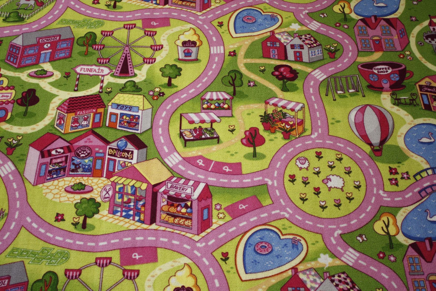 Road carpet Play carpet Girls Rug 200×180 cm pink pink New