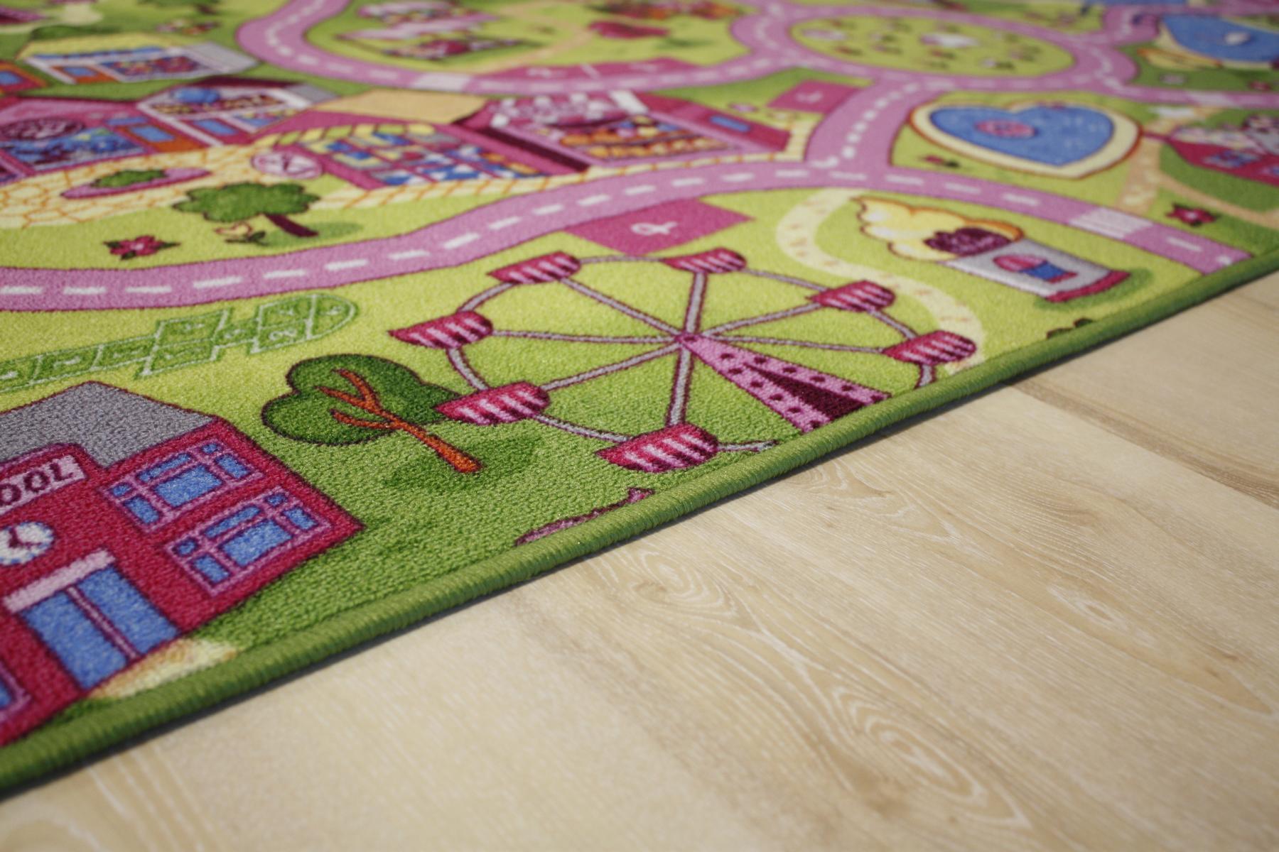 stra enteppich kinder spielteppich m dchen sweet town pink. Black Bedroom Furniture Sets. Home Design Ideas