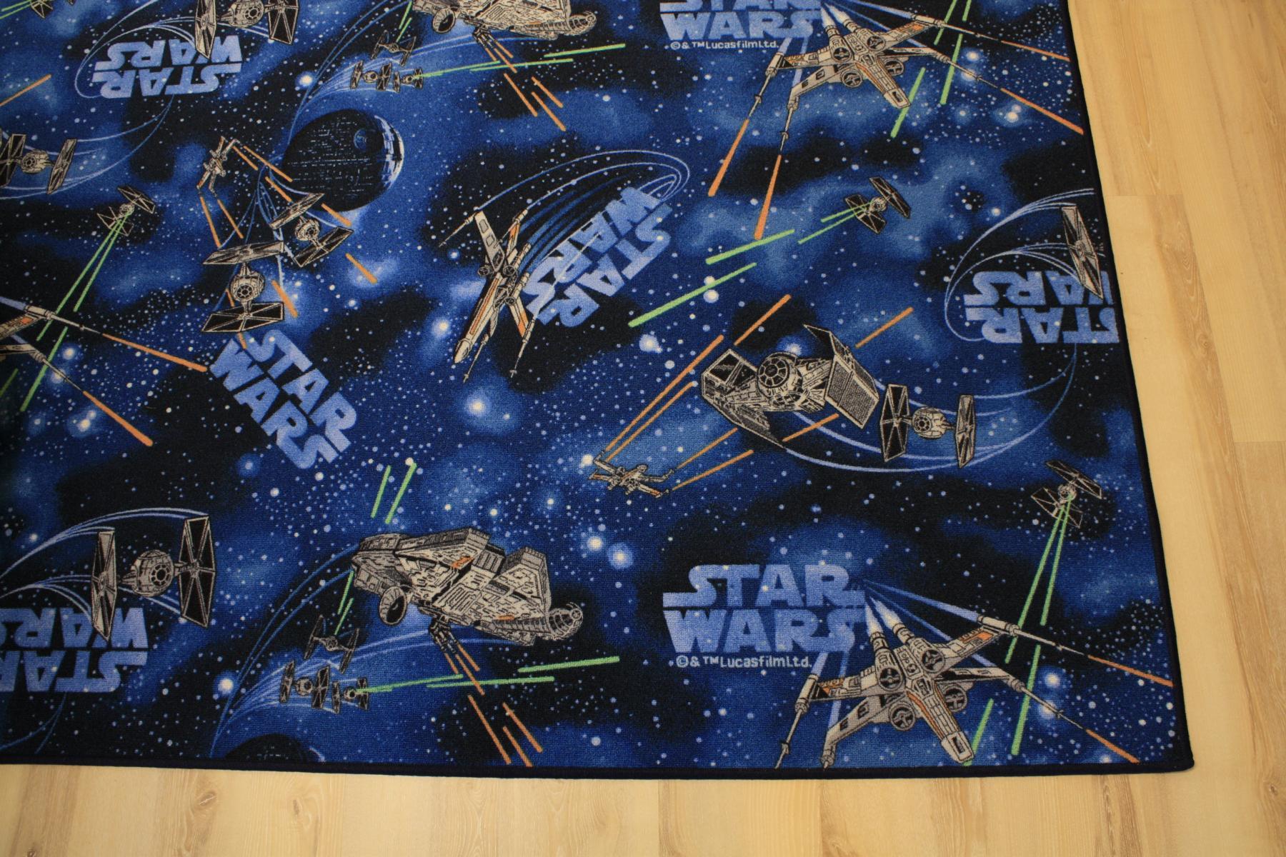 kinder teppich spielteppich star wars blau 200x270 cm weltall neu ebay. Black Bedroom Furniture Sets. Home Design Ideas