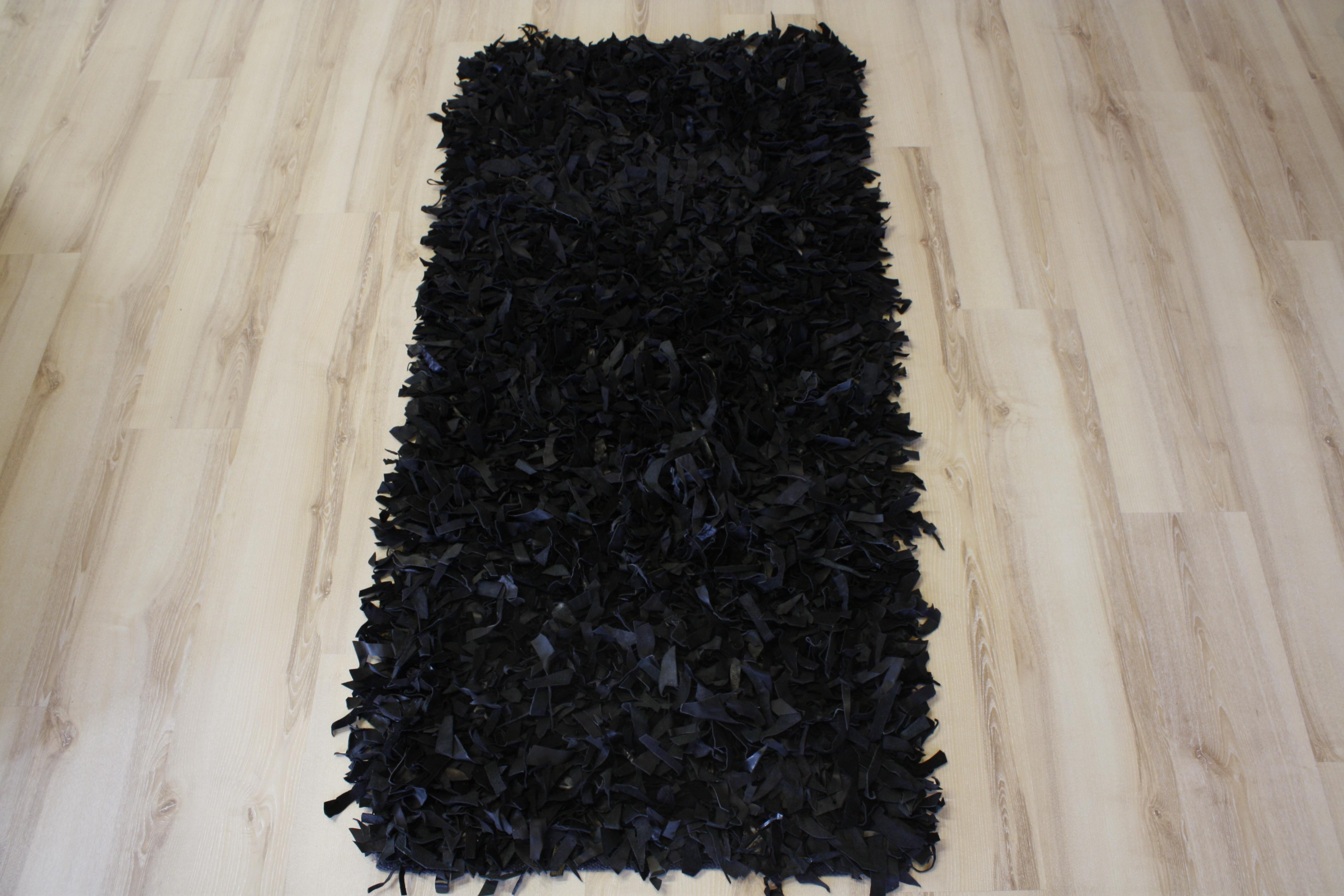 leather carpet high pile black 200x200 cm genuine leather. Black Bedroom Furniture Sets. Home Design Ideas