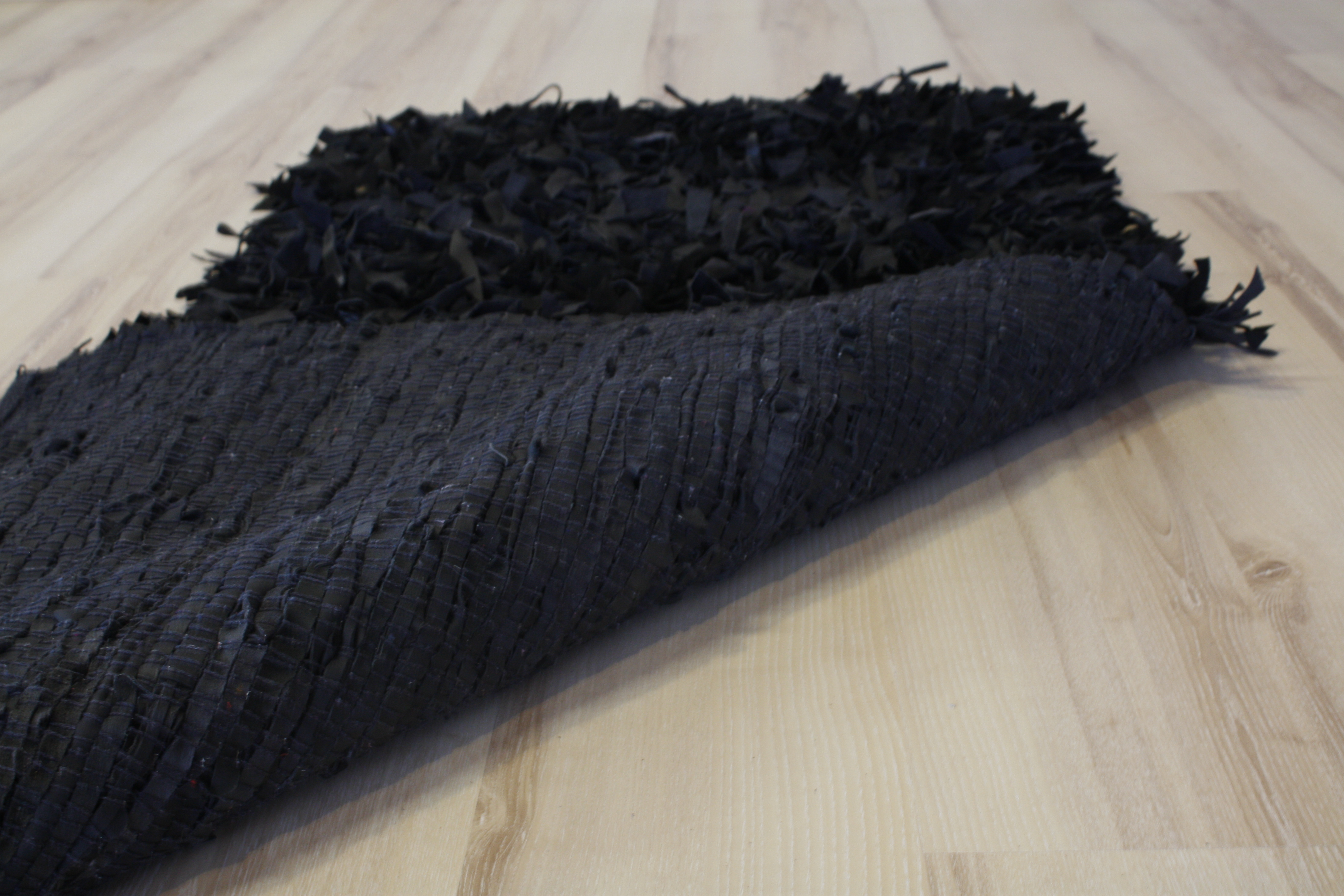 Leather carpet high pile black 200×200 cm Genuine Leather