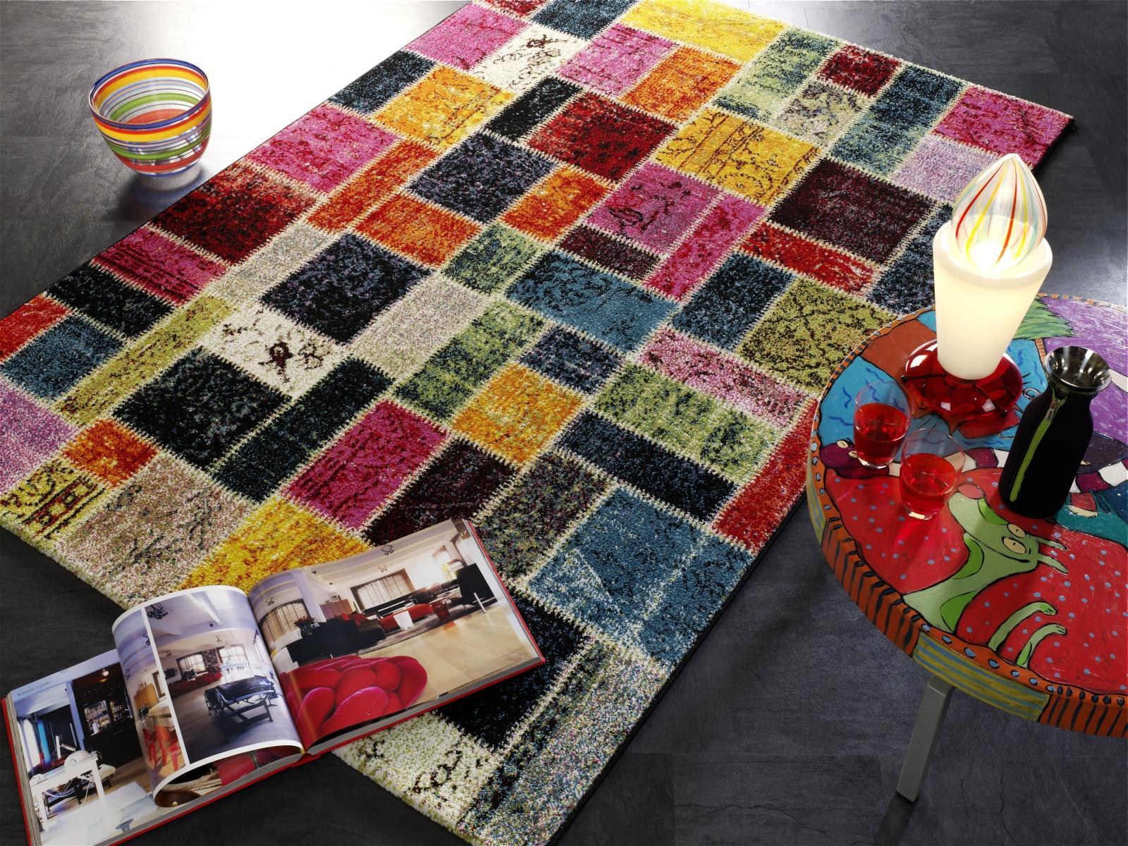 teppich multicolor designer ha037 random patchwork modern 65x130cm bunt ebay. Black Bedroom Furniture Sets. Home Design Ideas
