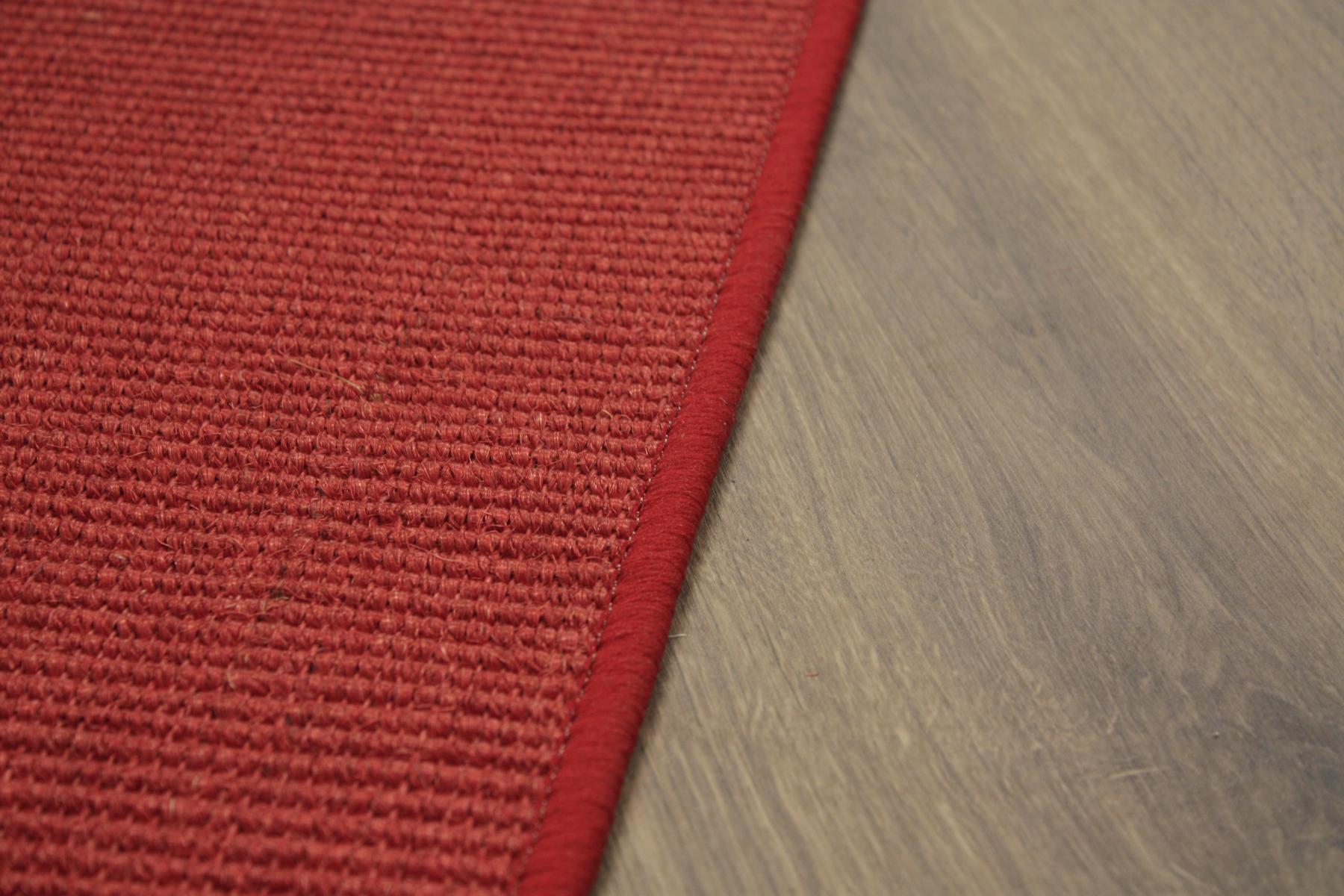 sisal teppich umkettelt rot 200x200cm 100 sisal gekettelt ebay. Black Bedroom Furniture Sets. Home Design Ideas