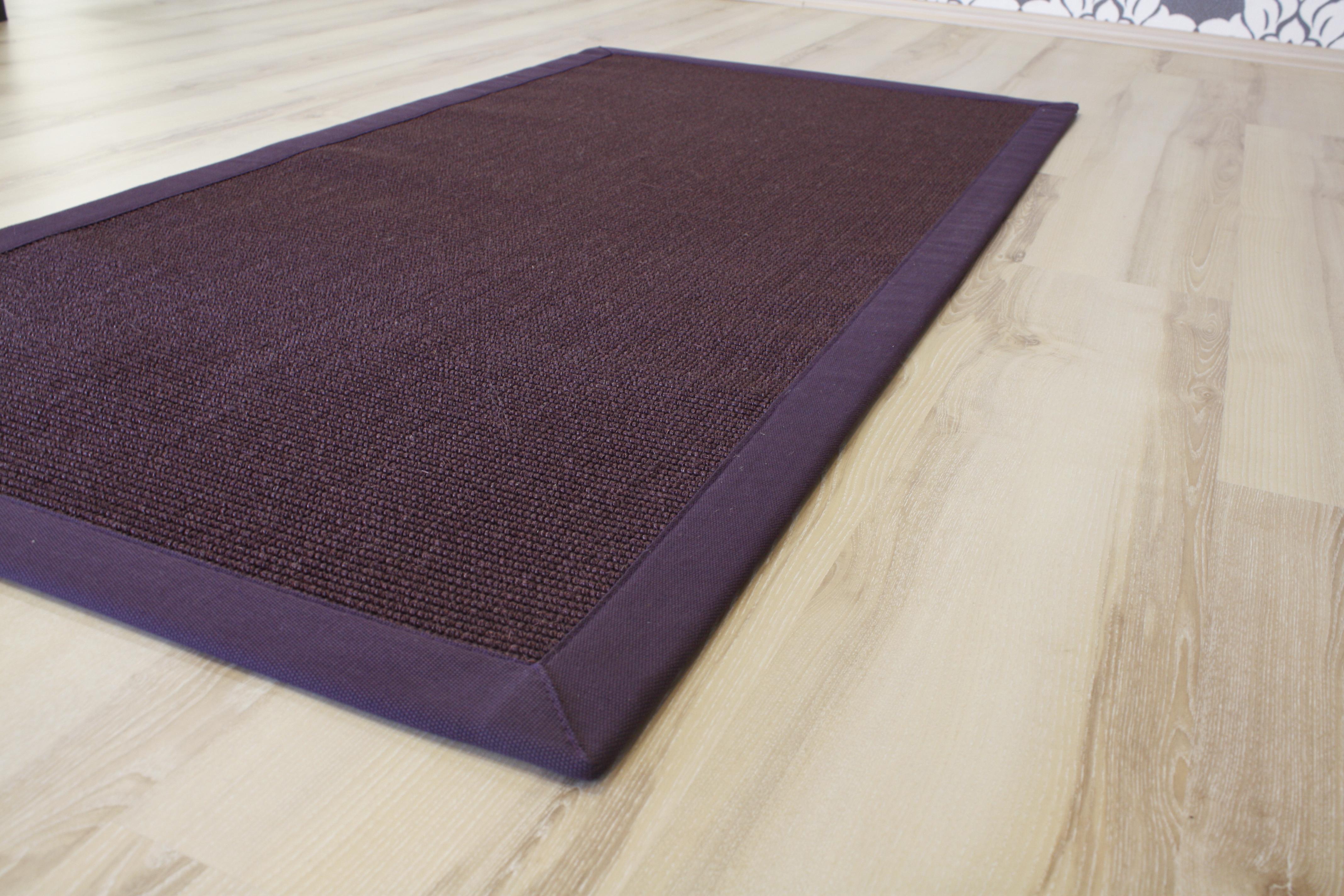 Tapis en sisal tapis bordures aubergine 200x250cm mauve - Tapis en sisal ...