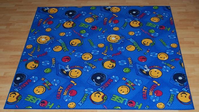 Smiley Teppich Spielteppich Musik blau 400×200 cm Neu